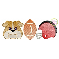 Bulldog Football Trio Sketch Embroidery