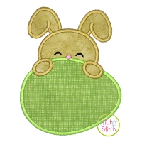 Bunny Egg Peeker Boy Applique