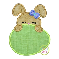 Bunny Egg Peeker Girl Applique