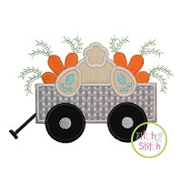 Bunny Carrot Wagon Applique Design