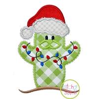 Cactus Santa with Lights Applique