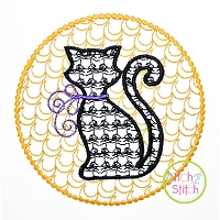 Cat in Moon Motif Embroidery