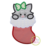 Cat in Stocking Girl Applique