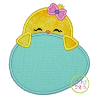 Chick Egg Peeker Girl Applique