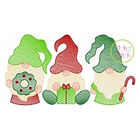 Christmas Gnome Trio Sketch Embroidery