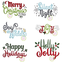 Christmas Text Embroidery Design Set