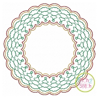 Christmas Tree Motif Circle Frame Embroidery