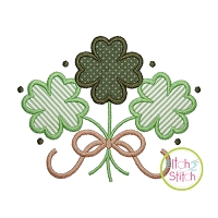 Clover Trio with Bow Applique Design