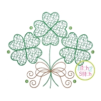 Clover Trio with Bow Motif Embroidery Design