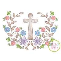 Cross Floral Swag Sketch Embroidery Design