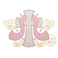 Cross with Sash Swirls Motif Embroidery Design