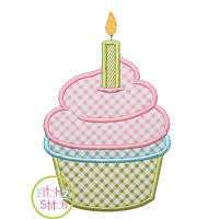 Cupcake with Candle Applique