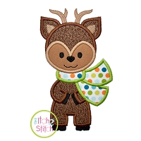Deer with Scarf Boy Applique