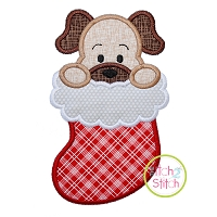 Dog in Stocking Boy Applique