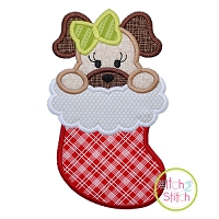 Dog in Stocking Girl Applique