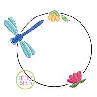 Dragonfly Bloom Frame Embroidery Design