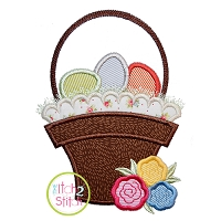 Easter Basket Roses Applique Design