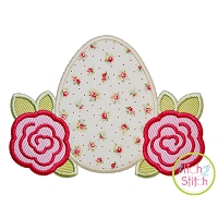 Easter Egg Roses Applique Design