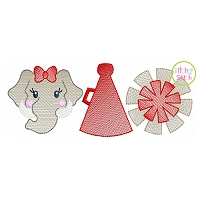 Elephant Cheer Trio Sketch Embroidery