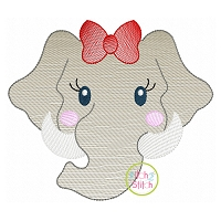 Elephant Face Girl Sketch Embroidery