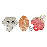 Elephant Football Trio Sketch Embroidery