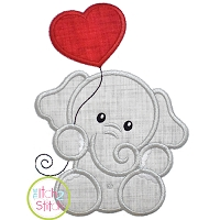 Elephant with Heart Balloon Boy Applique Design