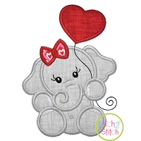 Elephant with Heart Balloon Girl Applique Design