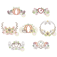 Fall Flourish Embroidery Design Set
