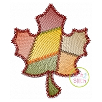 Fancy Patchwork Leaf Sketch Embroidery