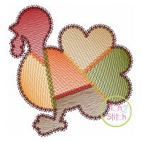 Fancy Patchwork Turkey Sketch Embroidery