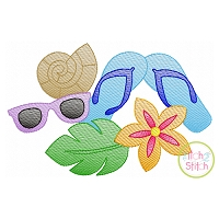 Flip Flops Tropical Scene Sketch Embroidery