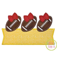 Football Bow Trio Banner Applique Design