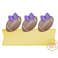 Football Bow Trio Banner Sketch Embroidery Design