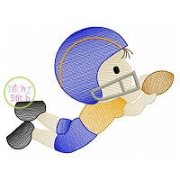 Football Boy Catching Sketch Embroidery