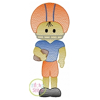 Football Boy Standing Sketch Embroidery