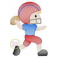 Football Boy Throwing Sketch Embroidery