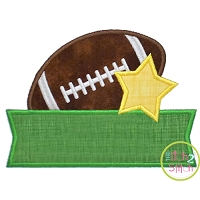 Football Star Banner Applique Design