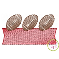 Football Trio Banner Sketch Embroidery Design
