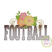 Football Word Flowers Applique
