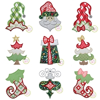 Funky Christmas Applique Design Set