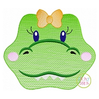 Gator Face Girl Sketch Embroidery
