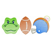 Gator Football Trio Sketch Embroidery