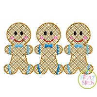 Gingerbread Boy Trio Motif Embroidery