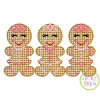 Gingerbread Girl Trio Motif Embroidery