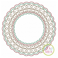 Gingerbread Motif Circle Frame Embroidery