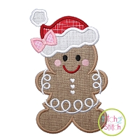 Gingerbread Santa Hat Girl Applique