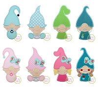 Gnome Family Kids Applique Design Set