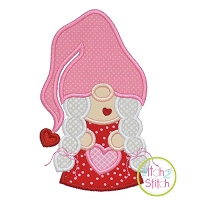 Gnome Holding Heart Girl Applique Design