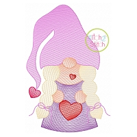 Gnome Holding Heart Girl Sketch Embroidery Design