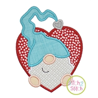 Gnome in Heart Boy Applique Design